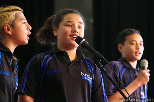 L-R: Te Whakoata Lauder, Meiata Nepia-Nearangione, Pita Awheto, Irongate School, Flaxmere, Hastings - Matariki Festival, performances and games organised by students at William Colenso College, Napier photograph