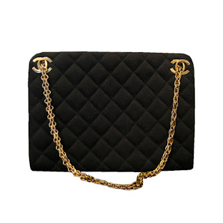 "Vintage 1960's black wool Chanel bag with gold ""CC"" hardware and gold chain strap."