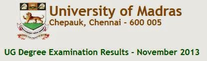 Madras University UG Nov 2013 Result