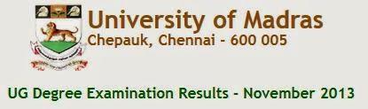 Madras University UG Nov 2013 Result