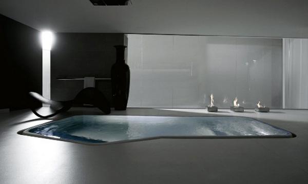 Modern bathroom design features in floor bathtubs bdp for Pool bathroom flooring