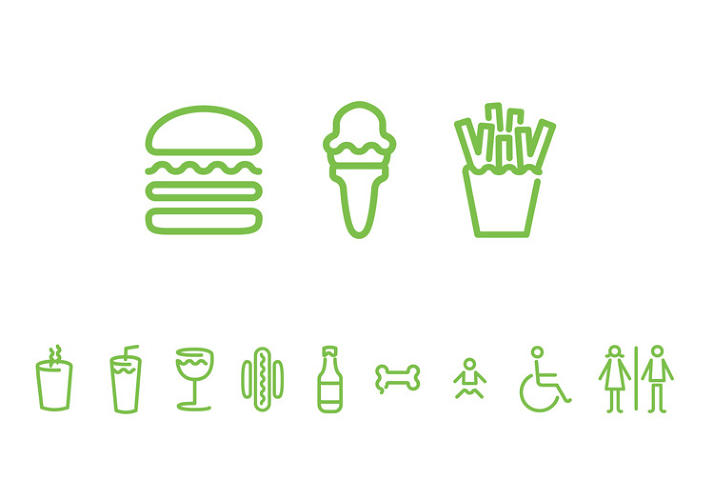 paula scher's design identity for shake shack