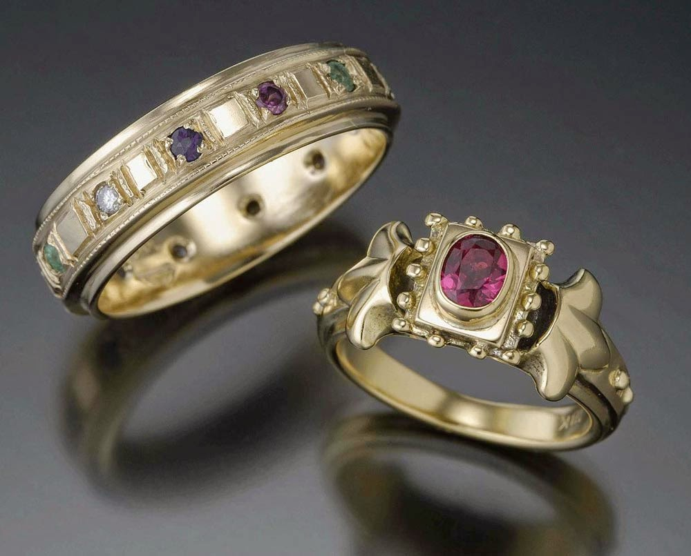 Lesbian Gold Wedding Rings Sets Purple Stone Diamond Design pictures hd