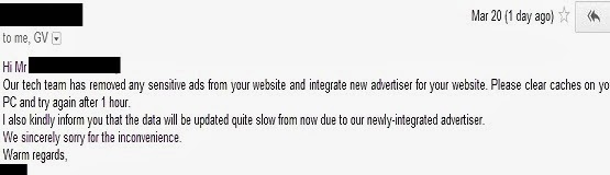 email dari advertiser