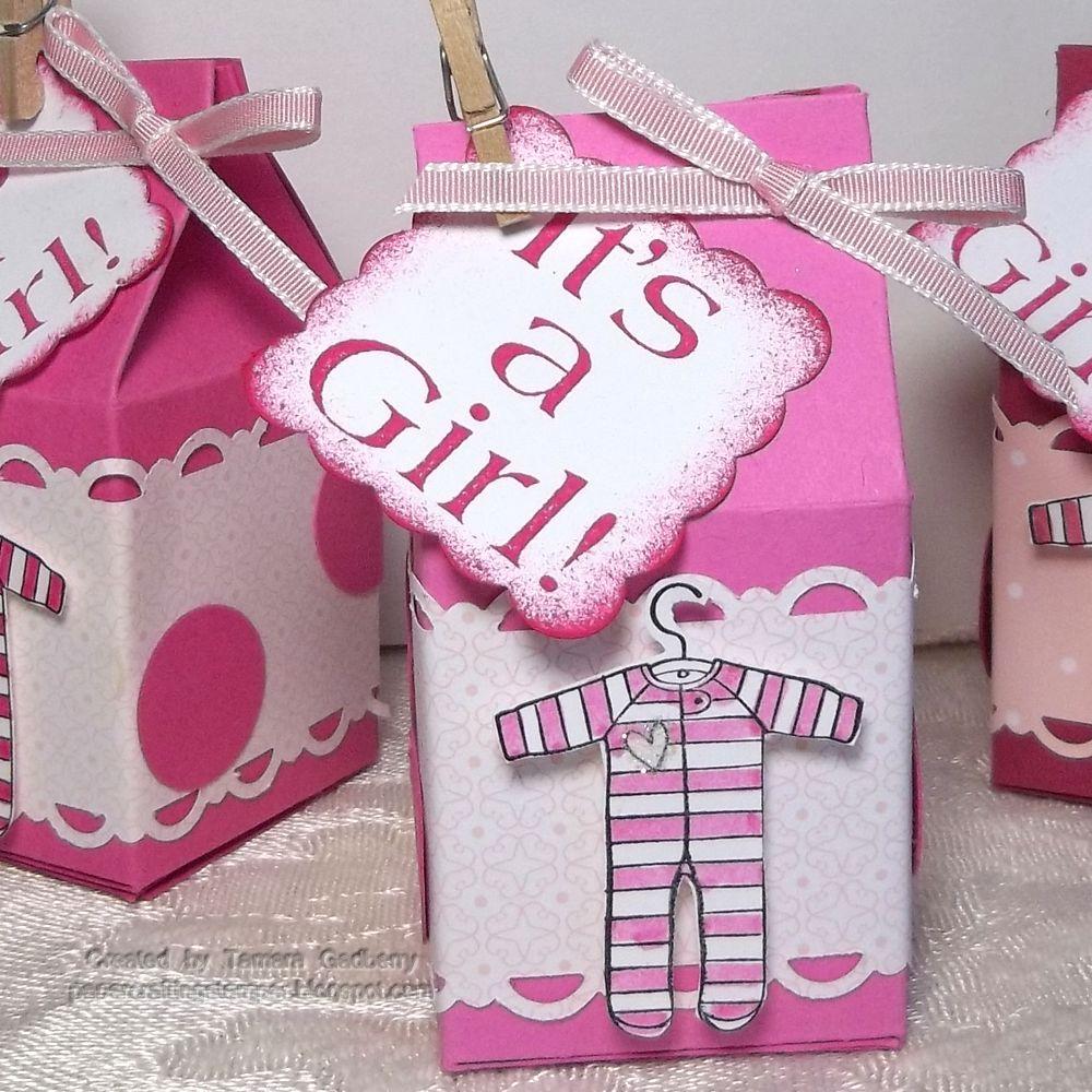 Papercrafting Stamper Tamara Gadberry: Milk carton Baby Girl Favors
