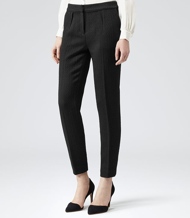 Black slim-cut Reiss trousers