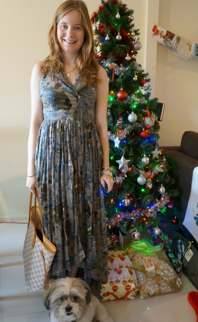 away from blue asos printed maxi dress christmas tree presents