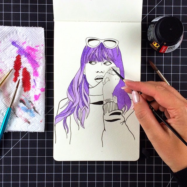 Inktober illustration of girls with colored hair by Jessica Mack aka BrownPaperBunny