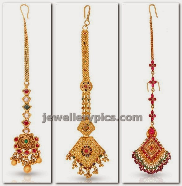 gold maang tikka designs at malabar gold studded with gemstones