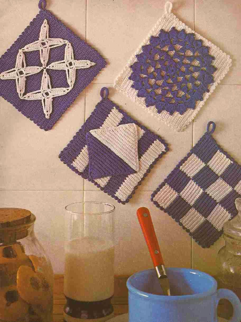 #87 Cogedores en Blanco y Azul a Crochet