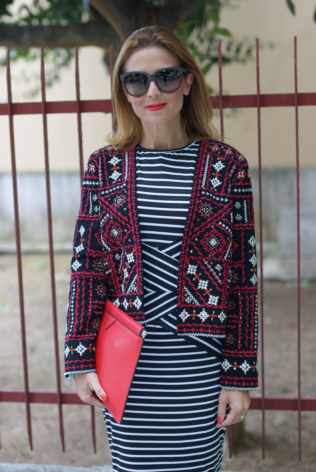 Choies striped bodycon midi dress worn with Zara embroidered jacket and adidas Stan Smith Rita Ora sneakers on Fashion and Cookies fashion blog