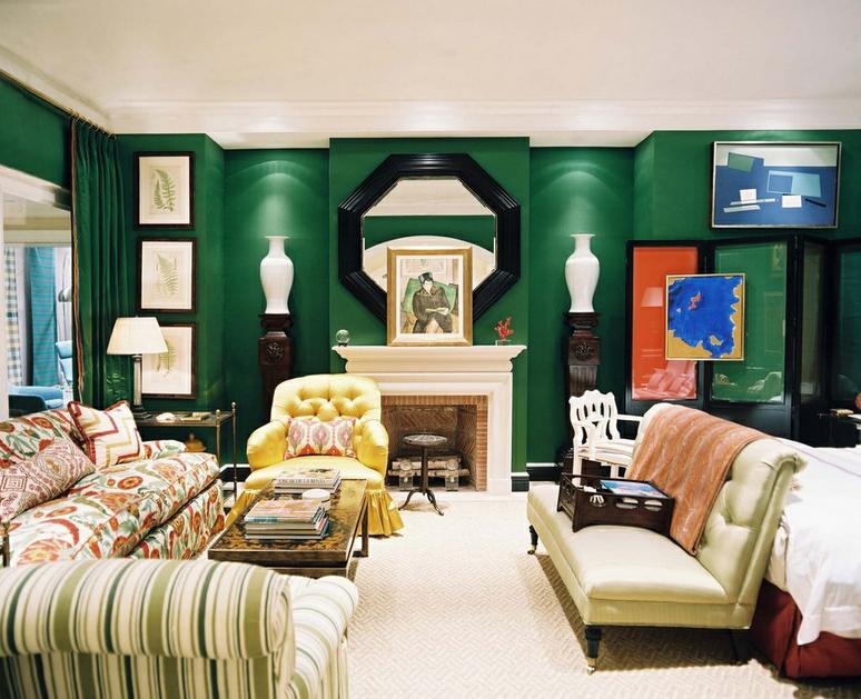 Color outside the lines miles redd for oscar de la renta - Grey and emerald green living room ...