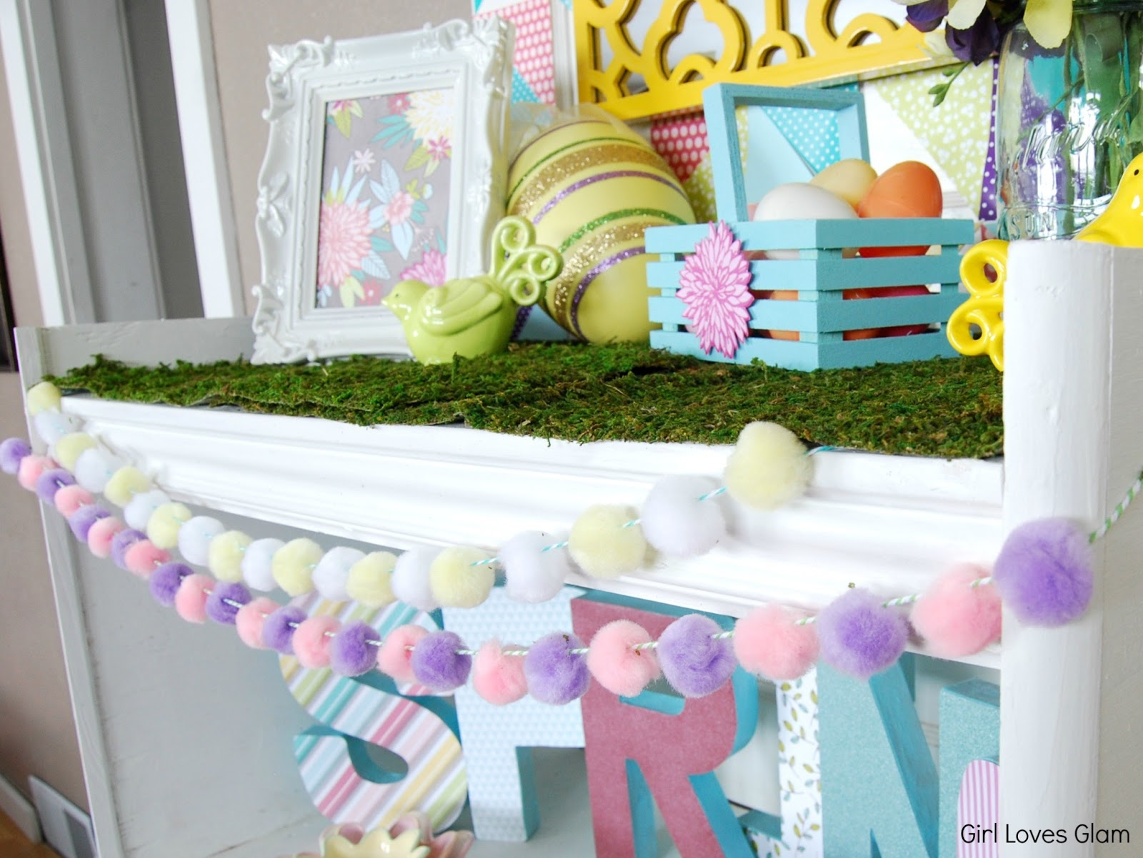 Easter Pom Pom Garland Dollar Store Craft Girl Loves Glam