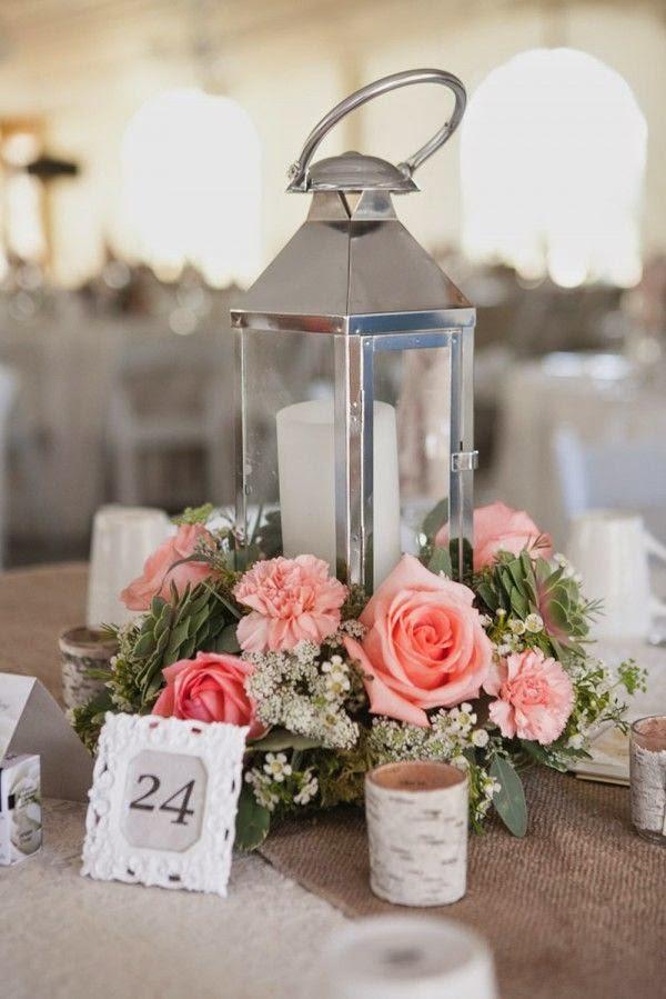silver lantern centerpiece