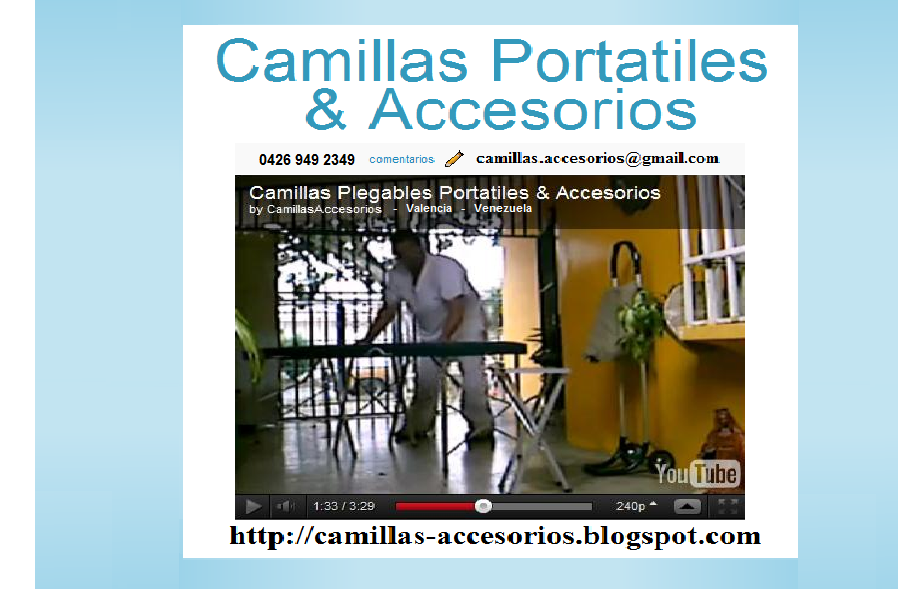 <center>Camillas Portatiles <br>&amp; Accesorios</center>