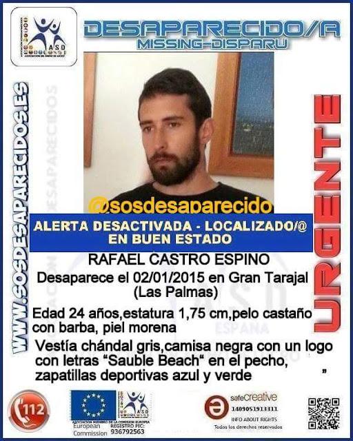 Localizado Rafael Castro Espino joven desaparecido Fuerteventura,  Gran Tarajal