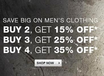 Flipkart Offer on Men's Branded Clothing: Buy 2 Get 15% Extra Off | Buy 3 Get 25% Extra Off | Buy 4 Get 35% Extra Off  (No Minimum Purchase Value)