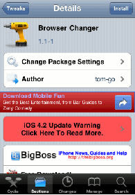 Cydia Default Browser Changer Install on iPhone