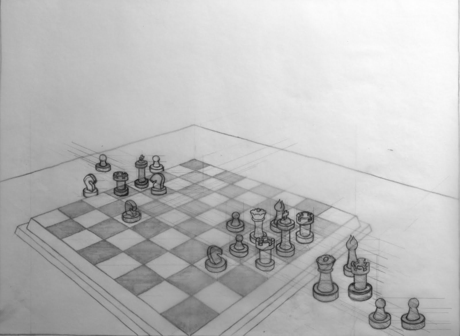 how to draw a chess board in perspective