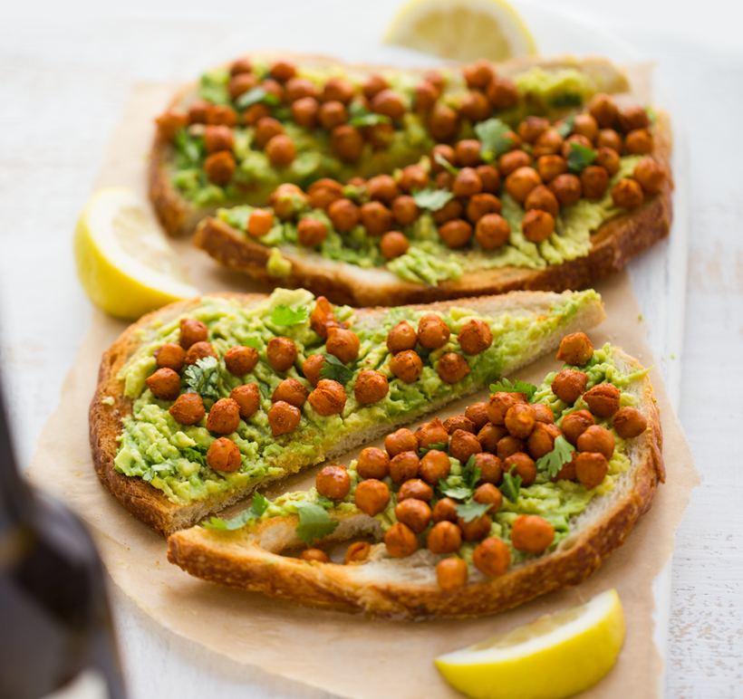 Avocado Toast with Spiced Skillet Chickpeas