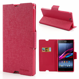 MLT Oracle Grain Leather Wallet Case with Stand for Sony Xperia Z Ultra XL39h C6806 - Magenta