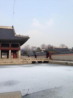 Lake inside Gyeongbokgung Palace Seoul South Korea