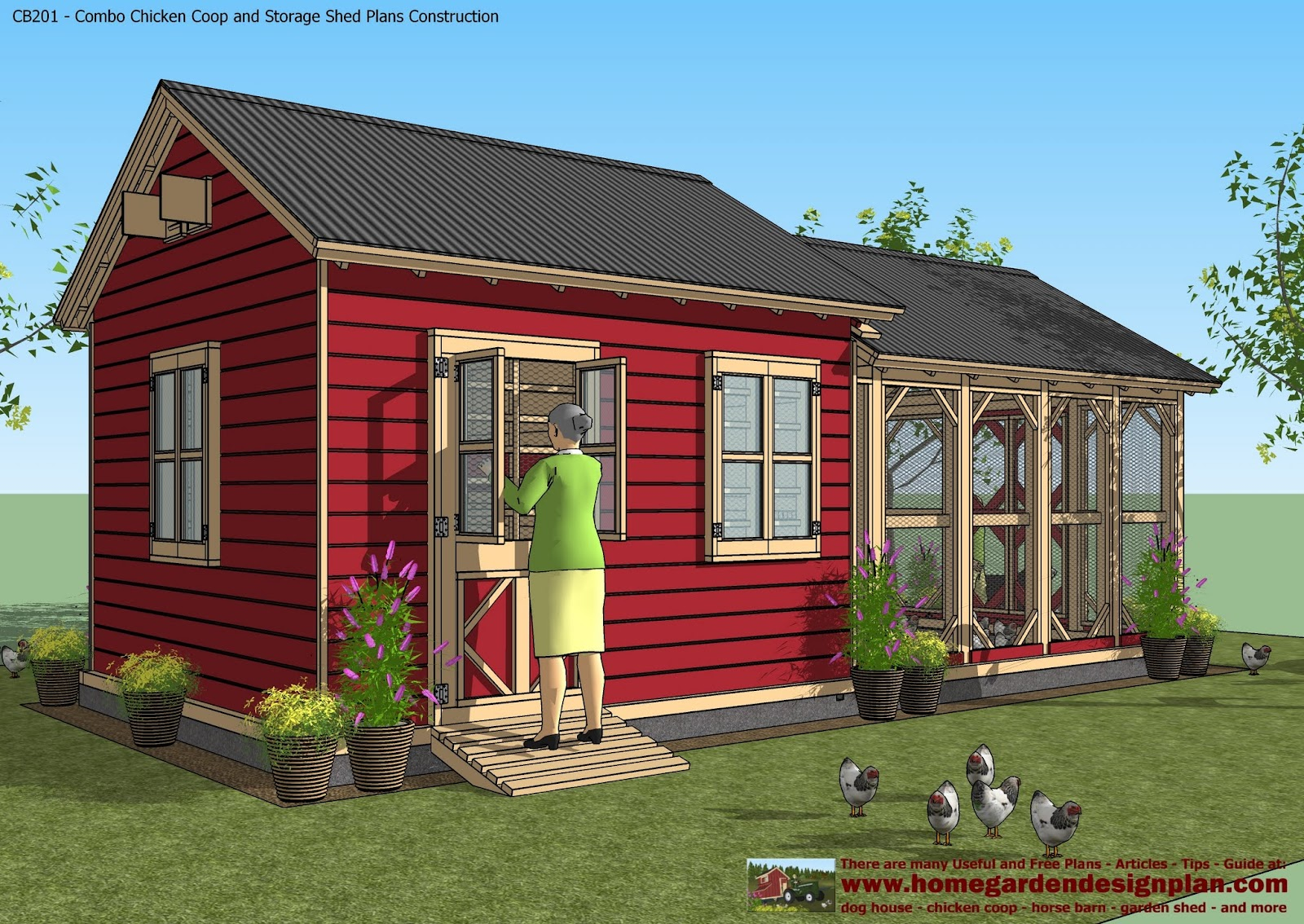 For chick coop cb201 combo plans chicken coop plans Barn plans and outbuildings
