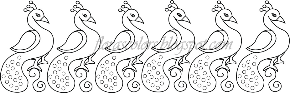 Floras Colors Free Hand Embroidery Pattern Peacock Border Design