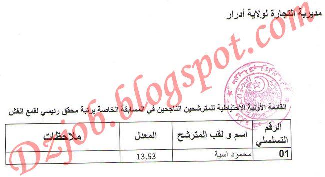 نتائج مسابقة توظيف مديرية التجارة لولاية أدرار لدورة 2012 قائمة الناجحين والاحتياطيين في مسابقة مديرية التجارة بأدرار 2012 2