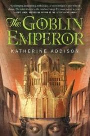 cover art for The Goblin Emperor, featuring a white palace perched atop a grey-skinned person's head like a crown. An airship floats above the palace, while aqueducts angle out to each side of it. The background is an indistinct pinkish grey reminiscent of the person's skin tone.