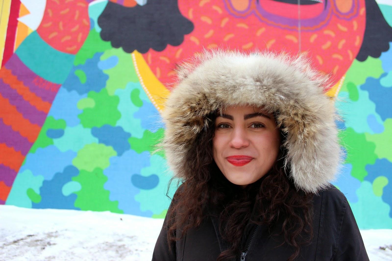 mac red lips marilyn monroe KASHINK street art mural festival fashion blog st laurent nightlife montreal bars canada goose fashion style  canada goose in my j brand