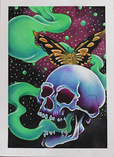 tattoo, tattoo painting, butterfly tattoo, skull tattoo watercolor, cincinnati, cincinnati tattoo, cincinnati art, art