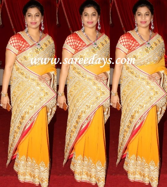 Latest saree designs pinky reddy in mustard georgette designer saree checkout pinky reddy in mustard georgette designer saree with embroidered and work border and paired with banarasi red short sleeves blouse altavistaventures Image collections