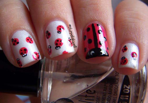 polish nail ideas ladybug