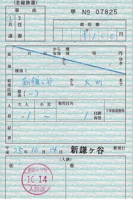 北総鉄道 出札補充券 新鎌ケ谷駅