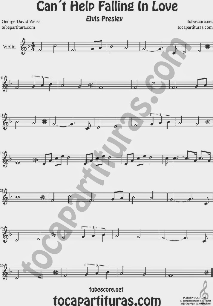 Can´t Help Falling in Love Partitura de Saxofón Alto y Sax Barítono Sheet Music for Alto and Baritone Saxophone Music Scores Can´t Help Falling in Love  Partitura de Violín Sheet Music for Violin Music Scores Music Scores