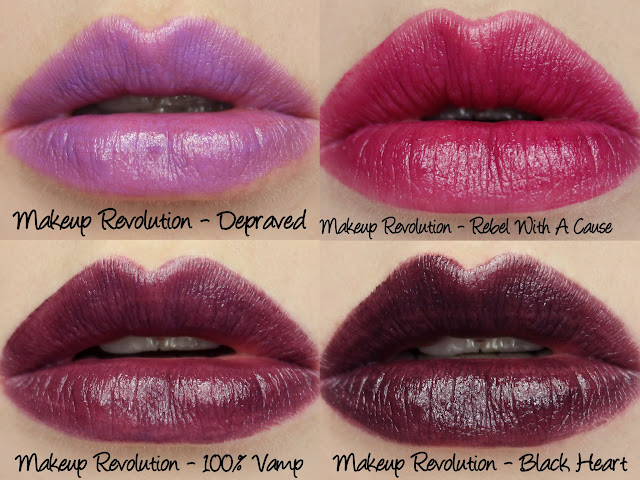 Makeup Revolution Amazing Lipstick - Depraved, Rebel With A Cause, 100% Vamp, Black Heart Swatches & Review