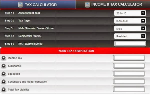 Tax Calculator A/Y 2014-15
