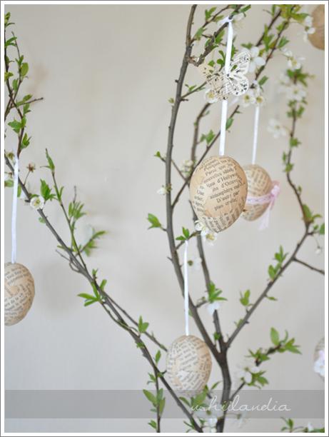 dekoracje wielkanoc - pisanki vintage wiszące na gałązce