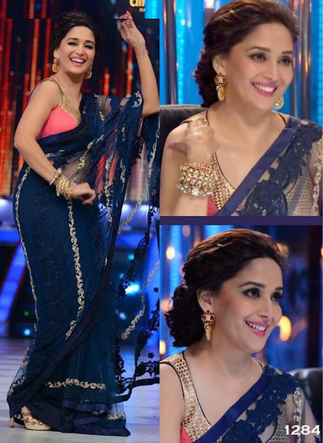 Bollywood Actress Madhuri Dixit Navy Blue Saree Collection