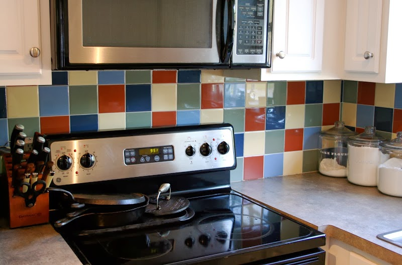 Paint backsplash tiles