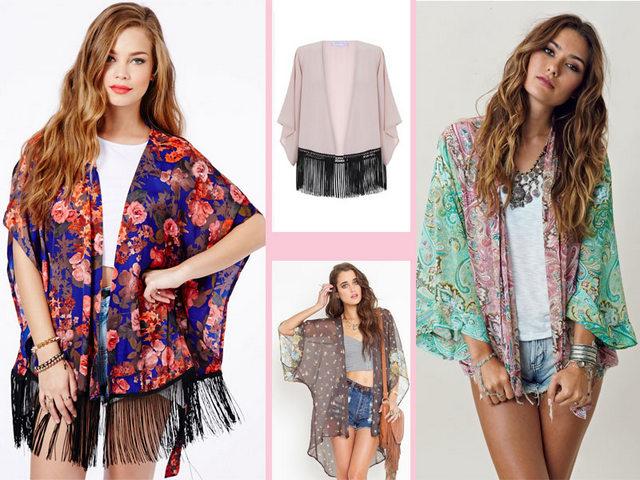 kimono flecos colores