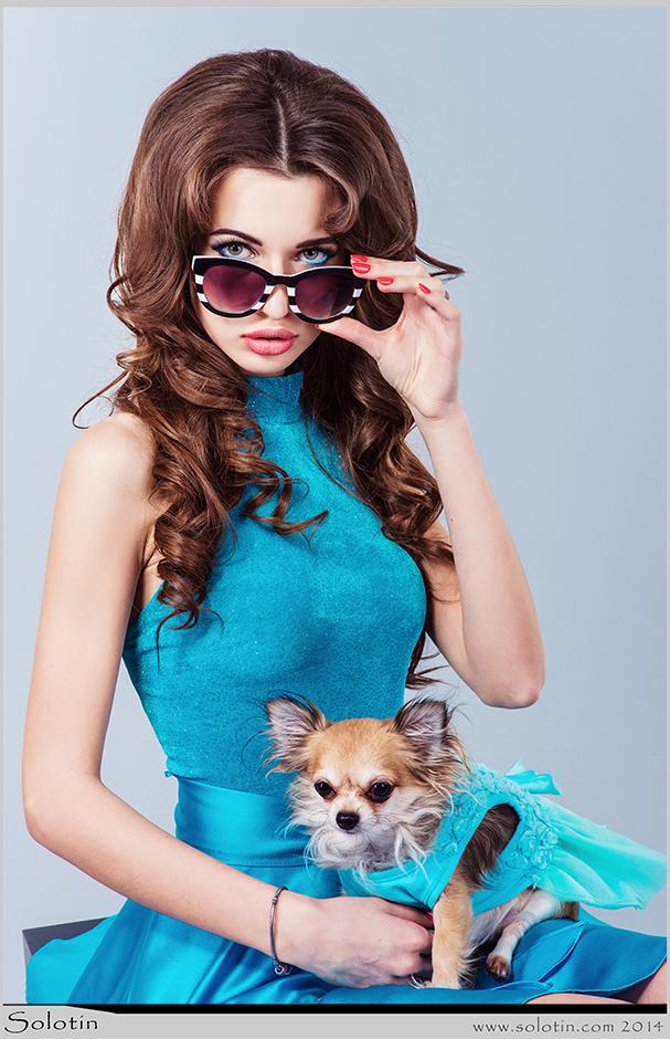 девушка, студия, собачка, гламур, фото, фотограф, Тамбов, Солотин