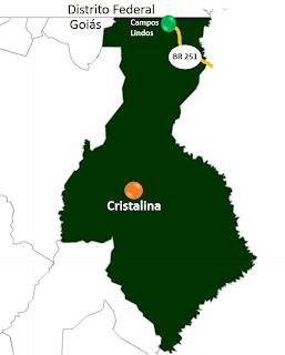 Mapa de Campos Lindos Goiás e Cristalina