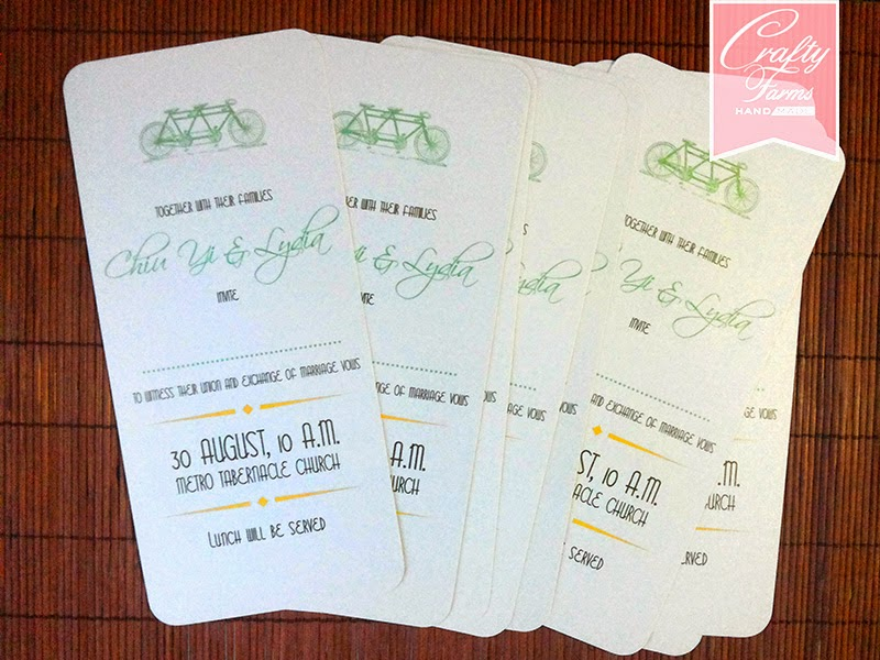 Metro Tabernacle Church Malaysia Wedding card simple mint and yellow tandem bicycle