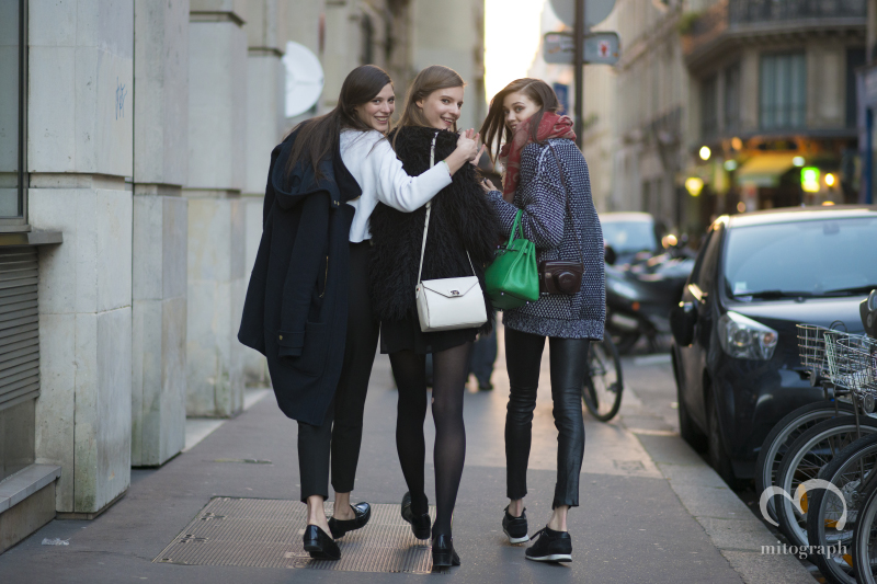 Models Carla Ciffoni and Tilda Lindstam and Diana Moldovan are leaving hermes show and celebrating fashion week is over