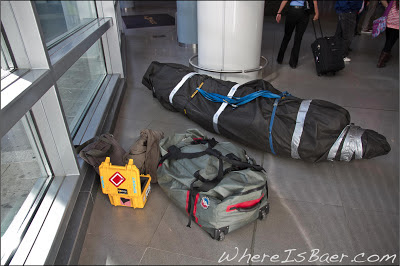 Collecting my gear in the Bogota Airport, Wave Sport, Blunt Family Paddles, Big Agnes, Chris Baer, Colombia