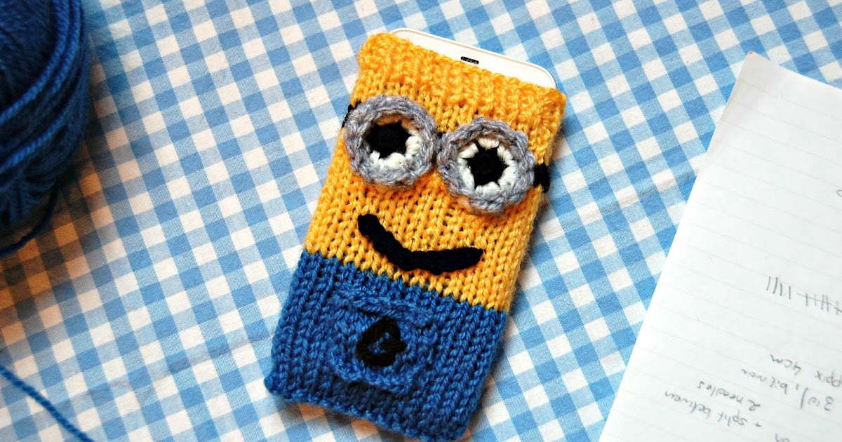 The Geeky Knitter Minion Phone Cover Free Knitting Pattern
