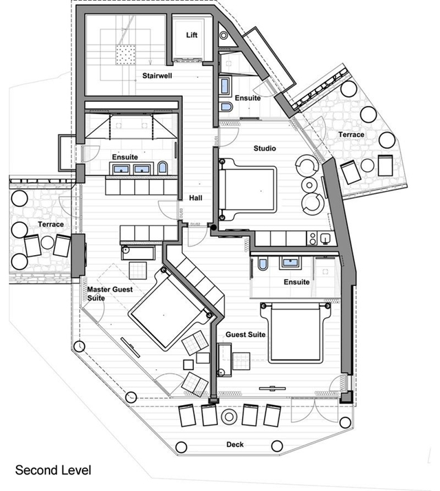 Second level mountain home floor plan