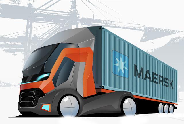 Магистральный контейнеровоз. Дизайн грузовика. Транспортный дизайн. Украина